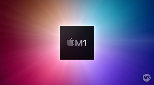 The graphic representing the Apple M1 chip, as presented by Apple at an event earlier this month.