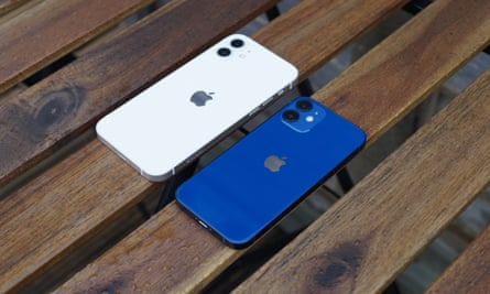 The iPhone 12 (left) and the 12 mini