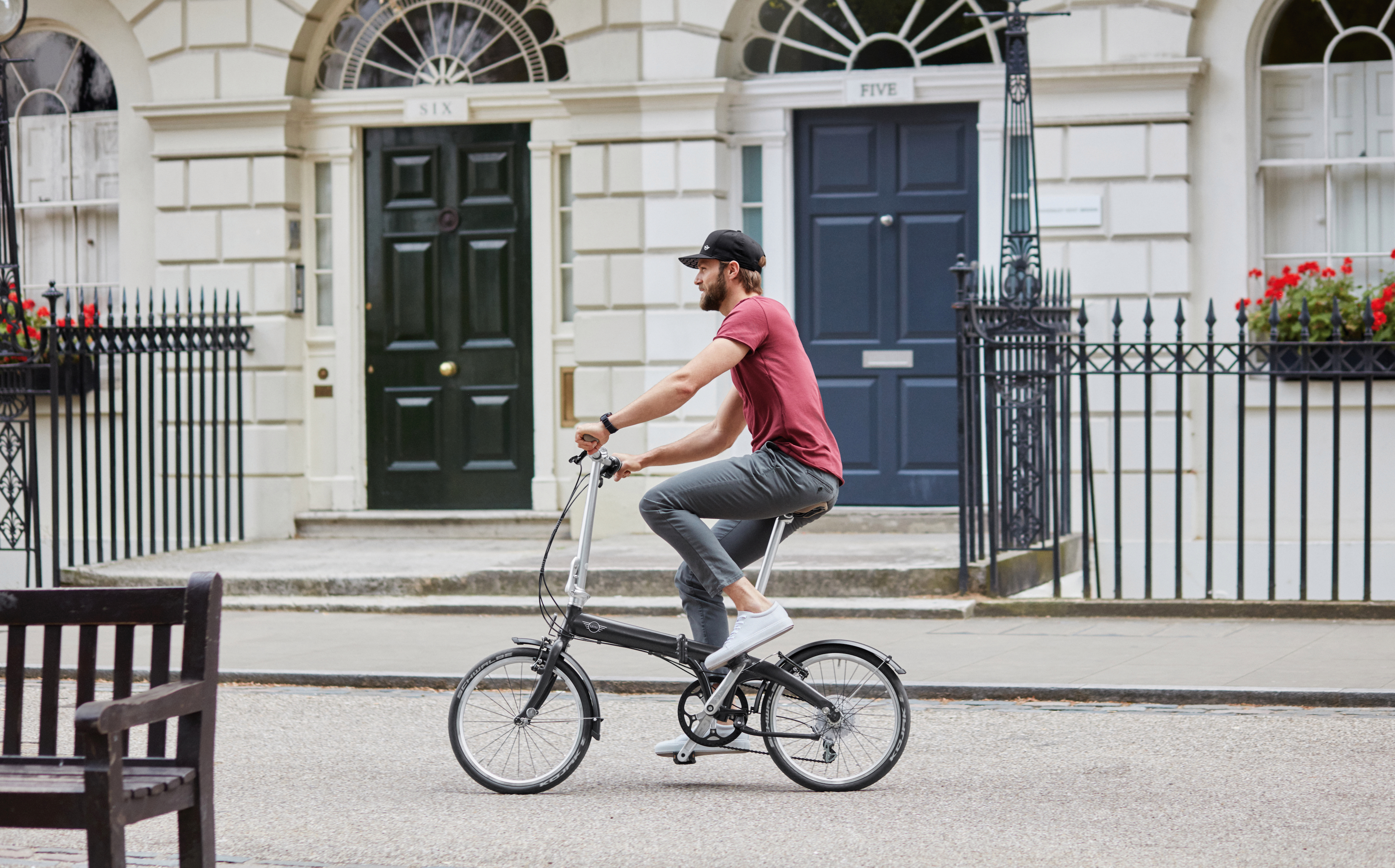 Top bit of kit, folds quicker than an origami blackbelt. Lightweight aluminium frame, leather seat, leather handles. Very cool. Head over to shop.mini.co.uk