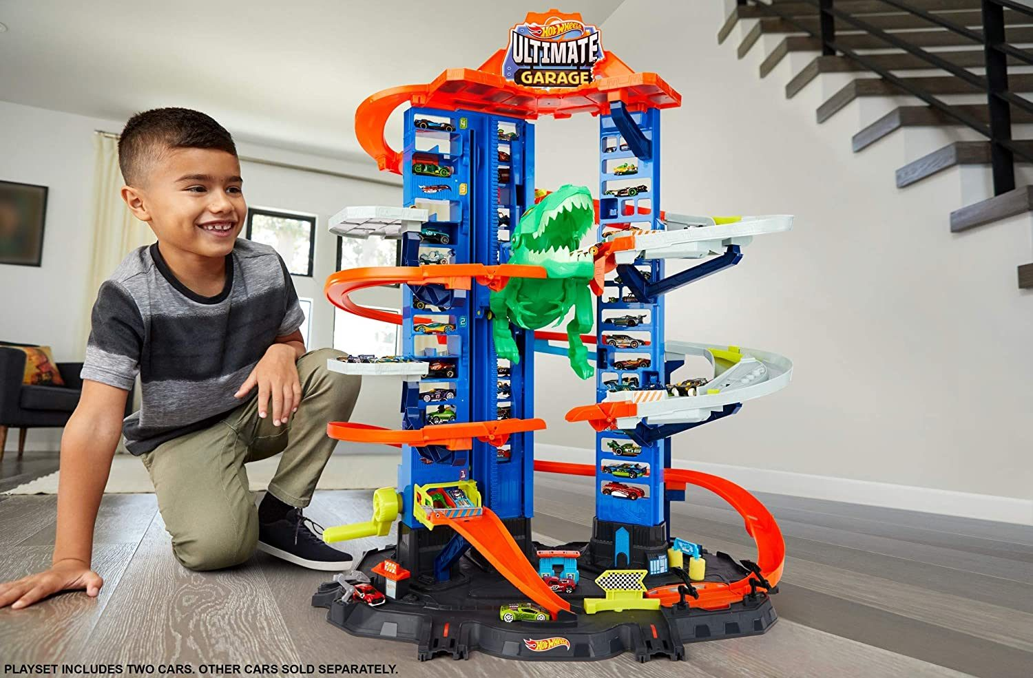 For kids aged five to 105. This mega playset stands 3ft tall, has parking for 100 cars and includes chomping T-Rex. Go to argos.co.uk.