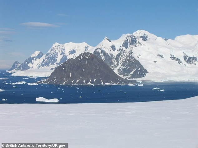 Francis Peak, newly named after director of the British Antarctic Survey, Professor Dame Jane Francis, as seen from Rothera research station in Antarctica