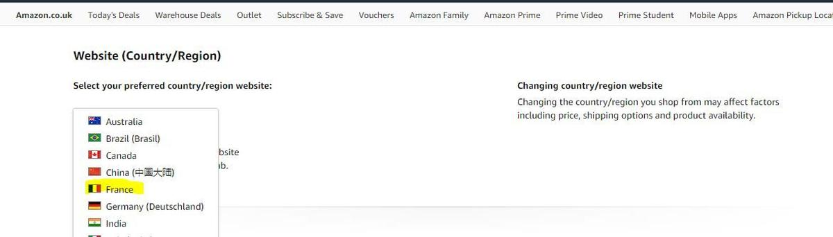 How to chance Amazon country setting