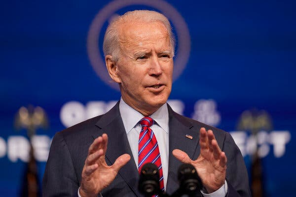 President-elect Joseph R. Biden Jr. thanked senators who are trying to negotiate a $908 billion compromise package.