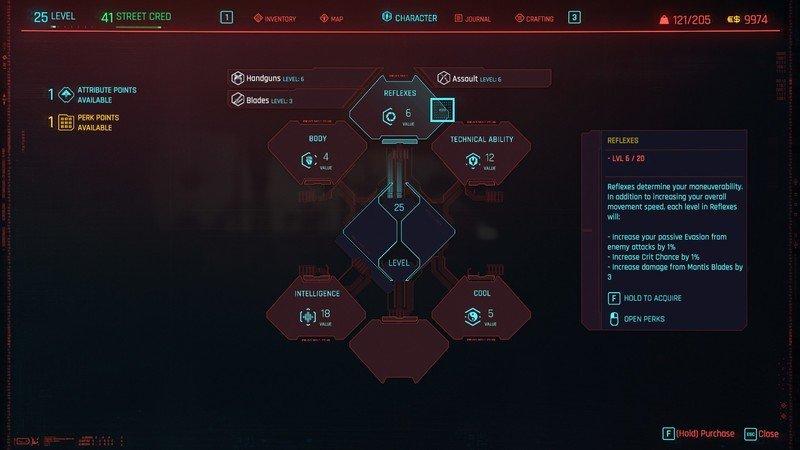 Cyberpunk 2077 Attributes Reflexes Details