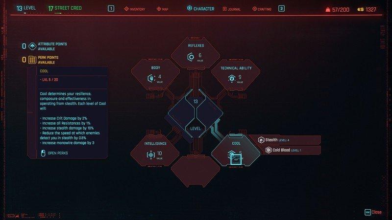 Cyberpunk 2077 Attributes Cool Details