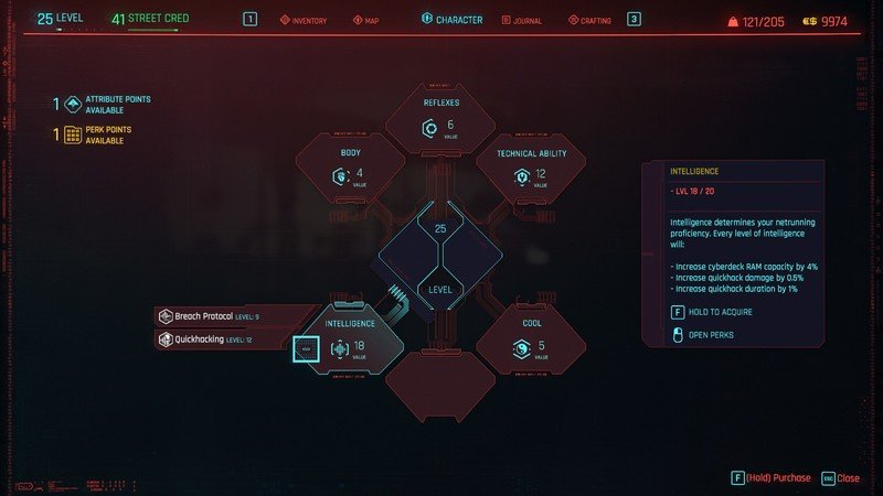 Cyberpunk 2077 Attributes Intelligence Details
