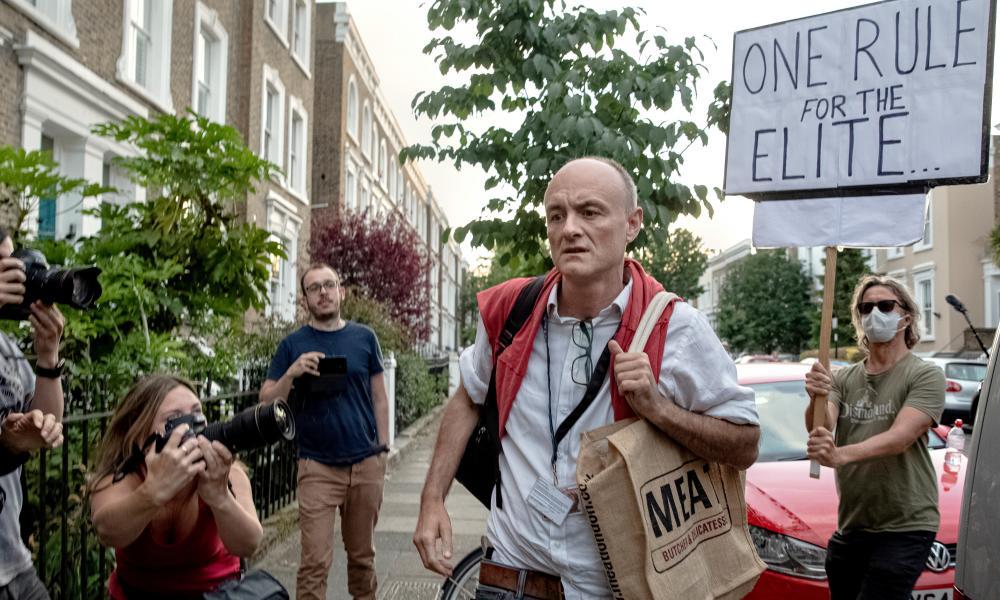 Dominic Cummings, senior adviser to Boris Johnson, outside his home in London