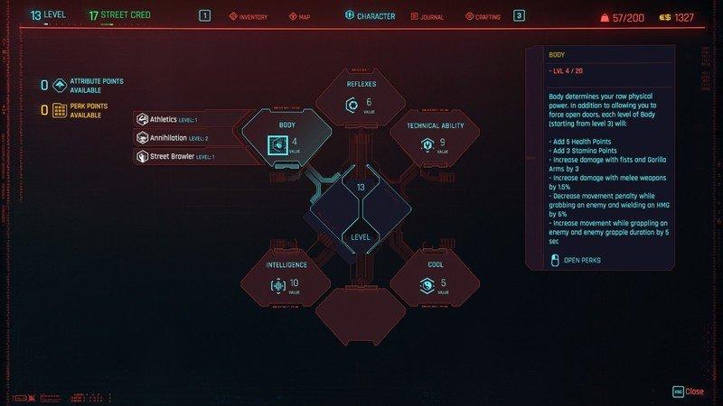Cyberpunk 2077 Attributes Body Details