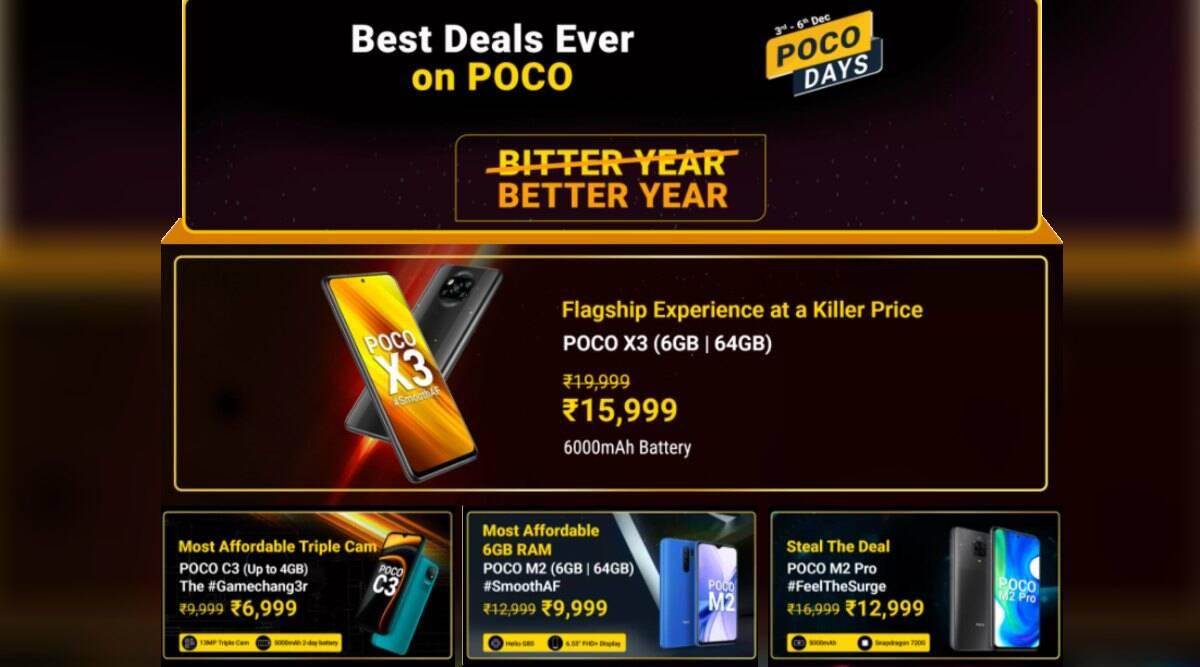 Poco X3, Poco M2 Pro, Poco M2, Poco C3, poco days sale, flipkart sale, poco phone sale, poco x3 discount