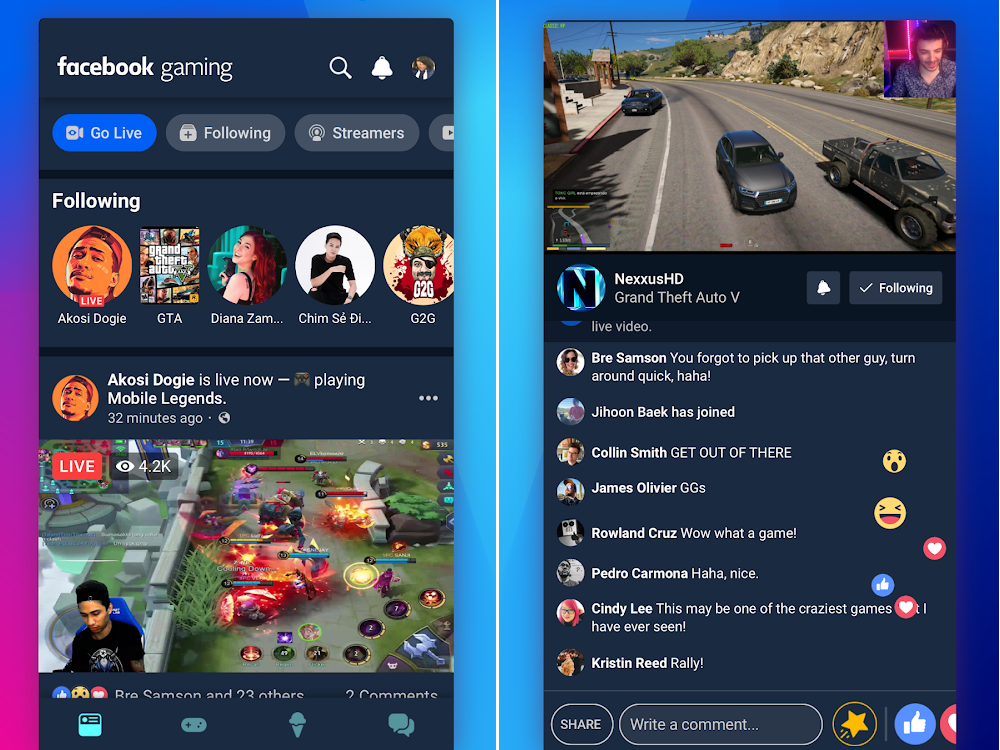 Facebook Gaming menu