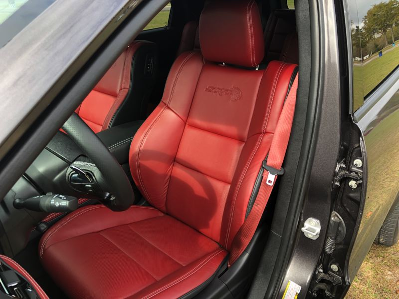 PMG PHOTO: JEFF ZURSCHMEIDE - The front seats of the 2021 Dodge Durango Hellcat are built for performance.