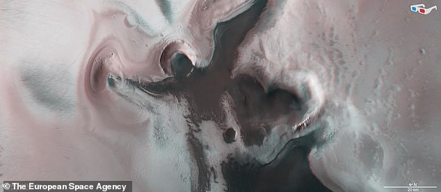 The European Space Agency captured what appeared to be an 'angel' on the surface of Mars last Christmas, caused by dune fields exposed by thawing ice caps. Other images spotted on the planet include a gorilla, the Bat Signal and even Ed Asner