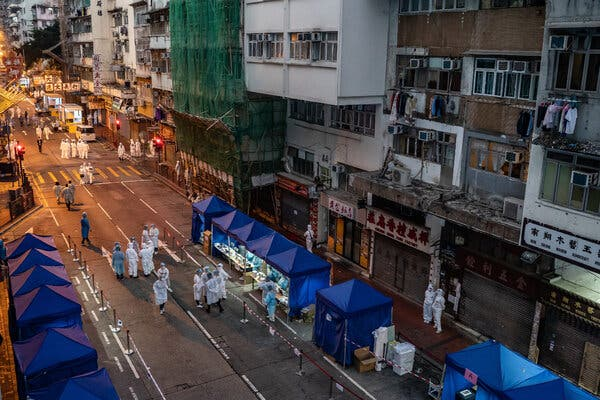 The restricted area in the Jordan district of Hong Kong on Saturday.