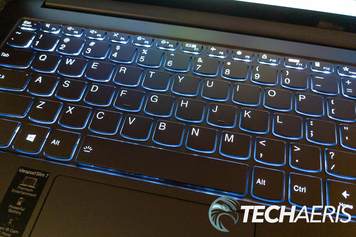 The backlit keyboard on the Lenovo IdeaPad Slim 7 14-inch laptop