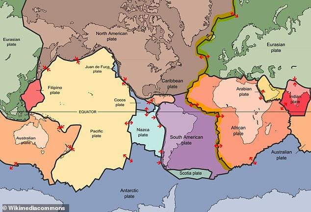 Map shows the tectonic plates of the lithosphere on Earth. The Mid-Atlantic Ridge is highlighted in yellow