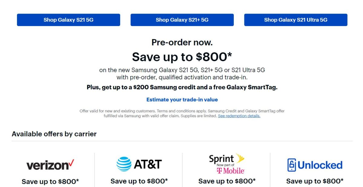 Samsung Galaxy S21 Best Buy Deals