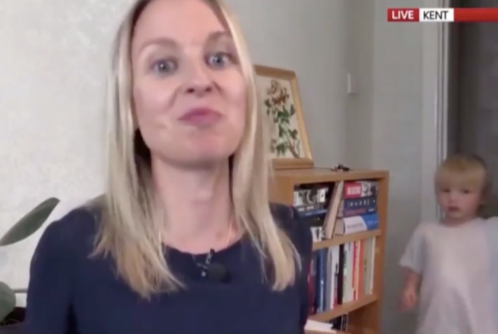 Sky News journalist Deborah Haynes saw her interview interrupted by her young son wanting biscuits