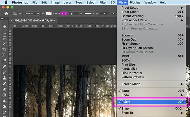show rulers menu option