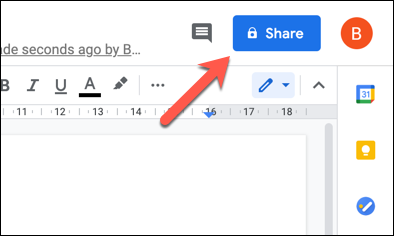 """Press """"Share"""" in a Google Docs document to access share settings."""