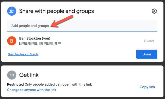 """Type an email address into the """"Add People and Groups"""" box."""