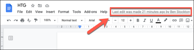 """Click the """"Last Edit"""" link at the top of a Google Docs document to view the version history."""