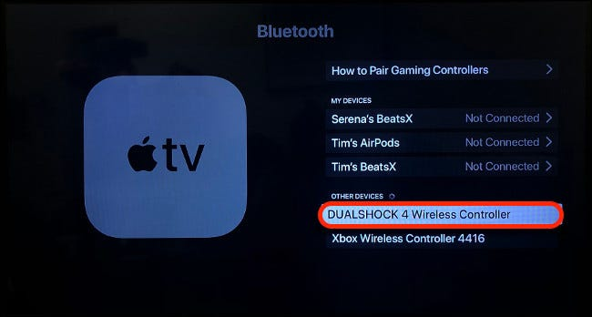 Pairing DualShock 4 with Apple TV