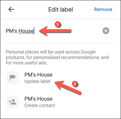 """To edit a Google Maps label, replace the label text, then tap the """"Update Label"""" option."""