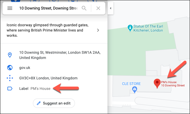 An example of a private label on a location in Google Maps.