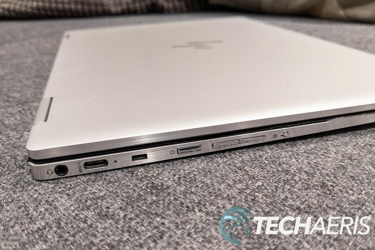 The ports on the left side of the HP Elite c1030 Chromebook Enterprise laptop