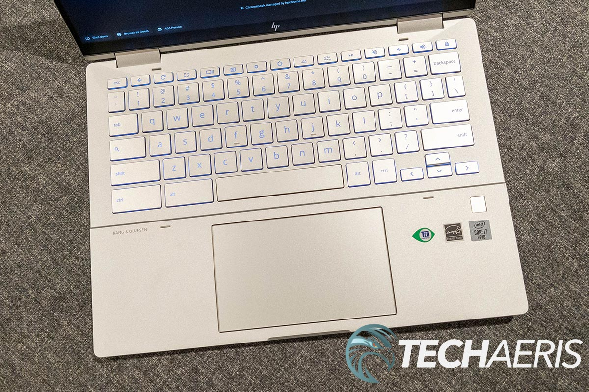 The backlit keyboard and touchpad on the HP Elite c1030 Chromebook Enterprise