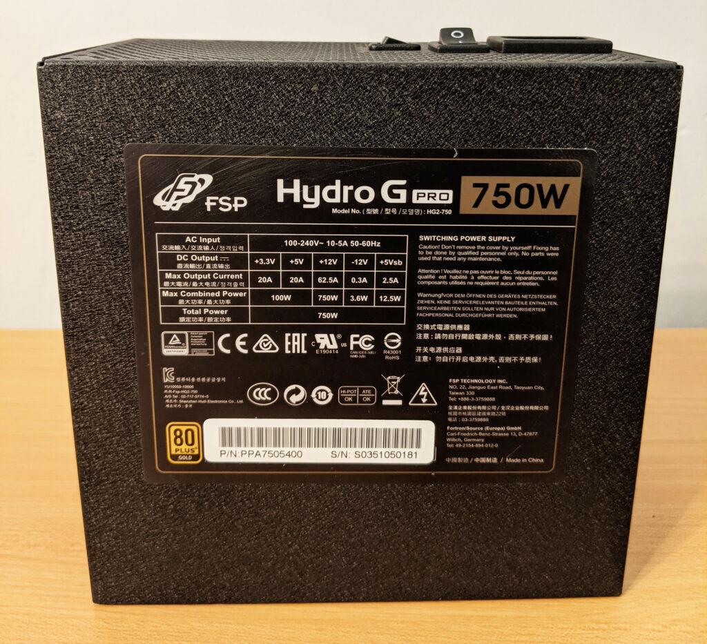 FSP Hydro G Pro 750W PSU Bottom