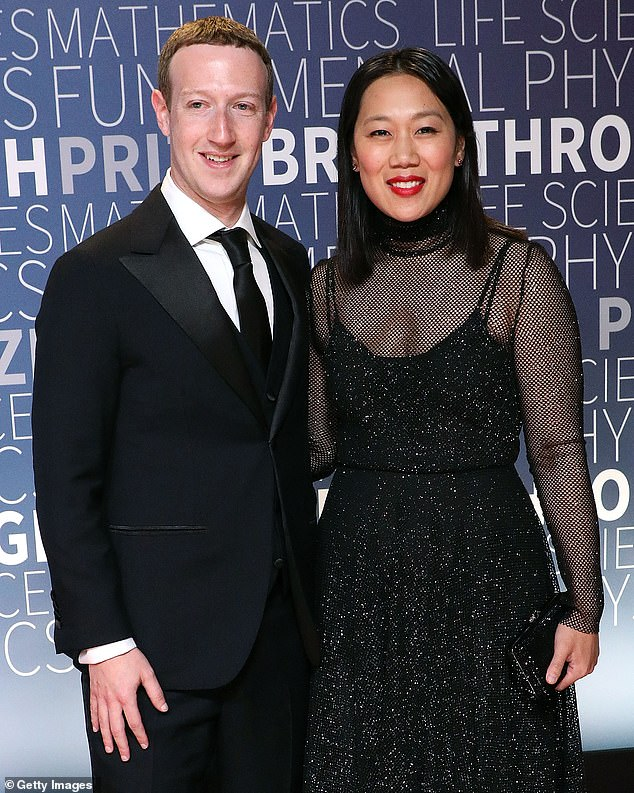 Australia has passed a world-first law to make Google and Facebook pay media organisations for hosting their news content. Pictured: Facebook boss Mark Zuckerberg and Priscilla Chan