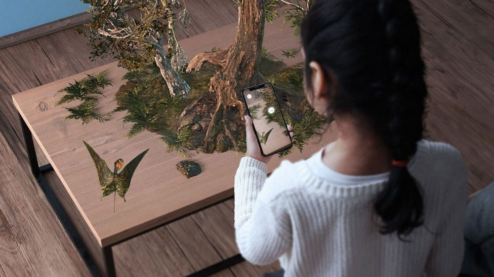 Child viewing prehistory creature in an AR scene at home