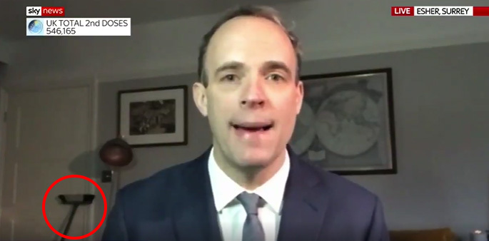 Eagle-eyed viewers spotted Dominic Raab's low-tech method to keep his intruders out of his Sky News interview