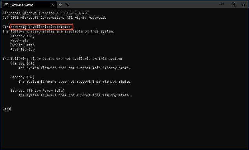 Windows 10 check sleep states command