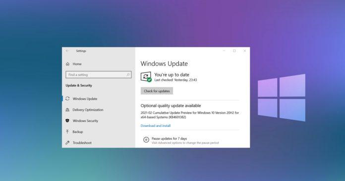 Windows 10 KB4601382