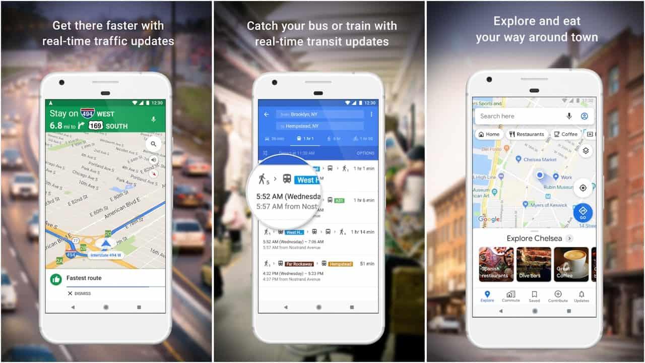 Google Maps app grid