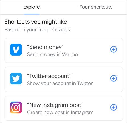 example shortcuts