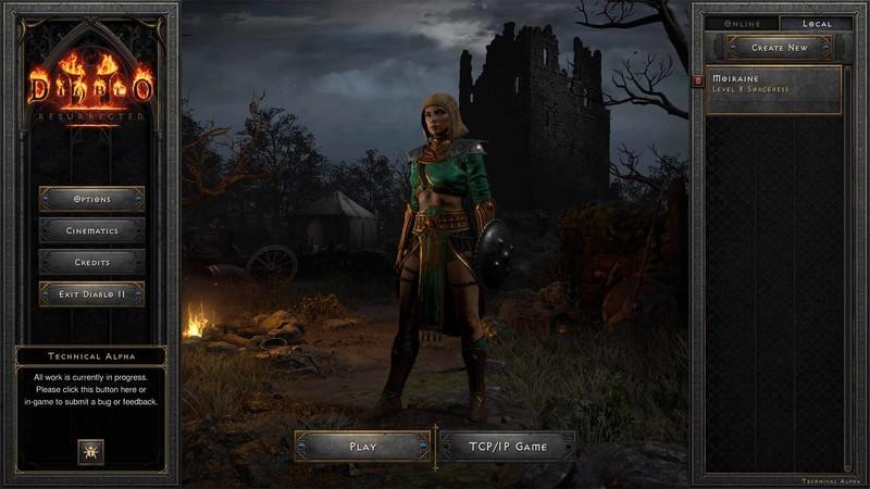 Diablo 2 Resurrected Tech Alpha Character Screen