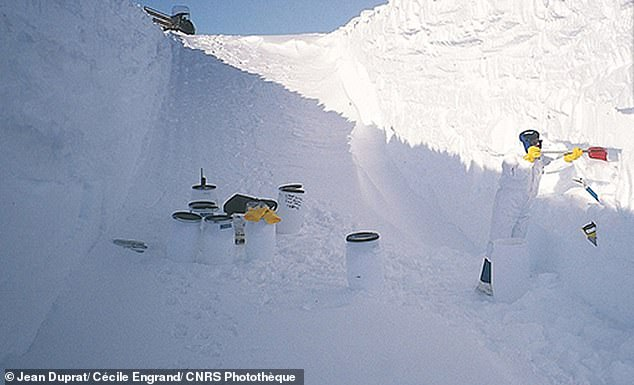 One of the trenches dug into the snow at DOME-C in Antarctica where micrometeorites were found