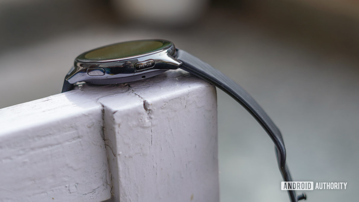 OnePlus Watch side profile with buttons exposed