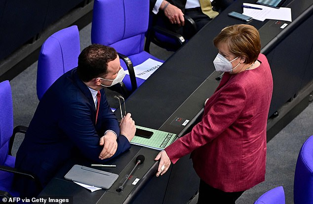 Angela Merkel is today trying to persuade MPs to pass fresh lockdown laws in Germany that would automatically plunge areas into restrictions if Covid cases spike