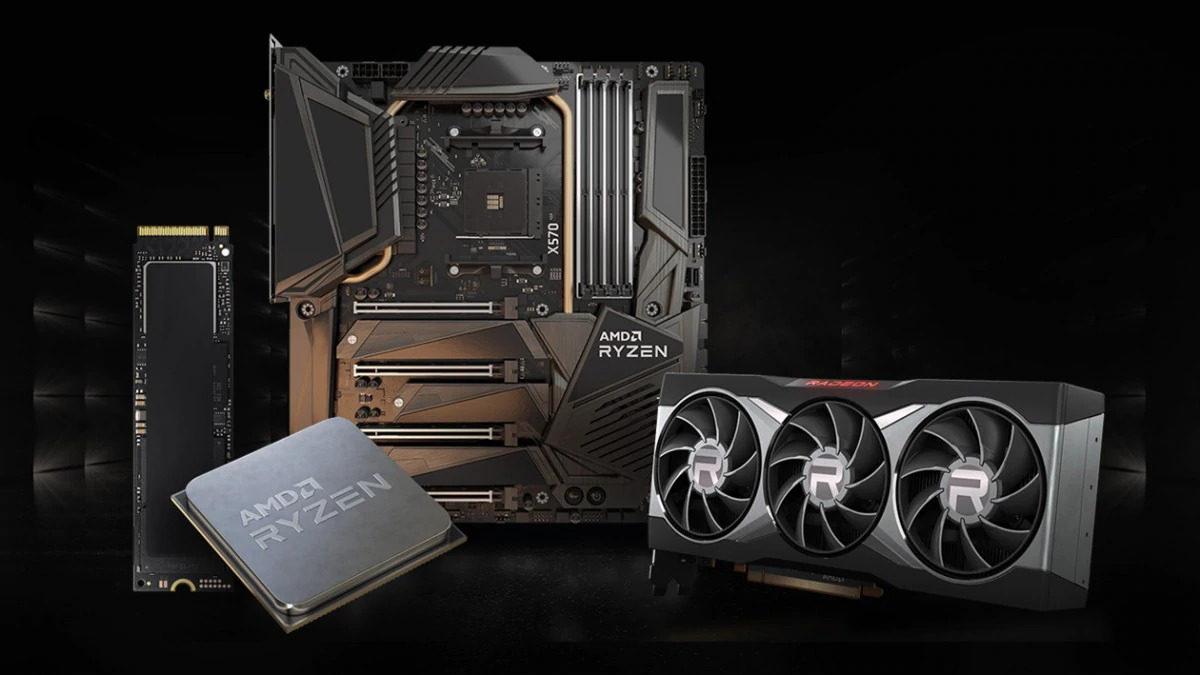 AMD Ryzen setup showing Ryzen CPU, X570 motherboard, RX 6000 GPU and an NVMe SSD, unassembled