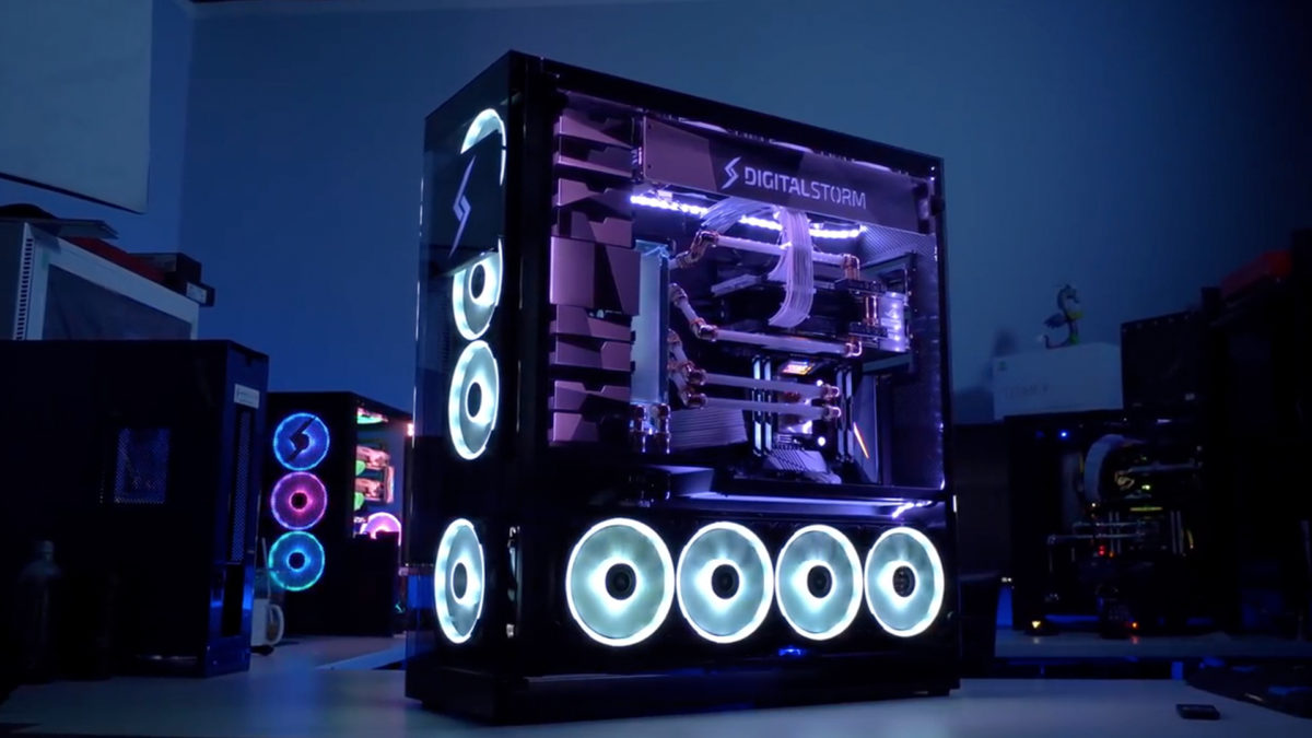 Intel PC build fully assembled with more systems in the background