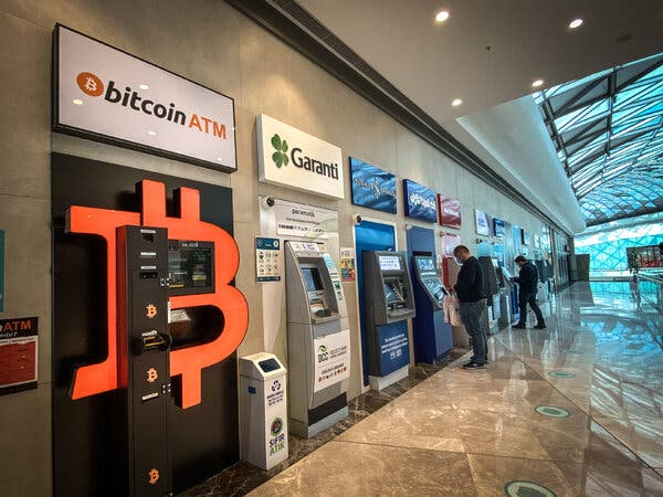 A Bitcoin A.T.M. in an Istanbul shopping mall. Many Turks have turned to cryptocurrencies as a hedge against inflation.