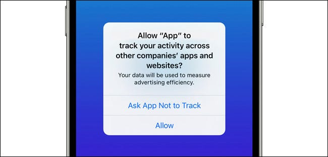 The iPhone app tracking request pop-up.