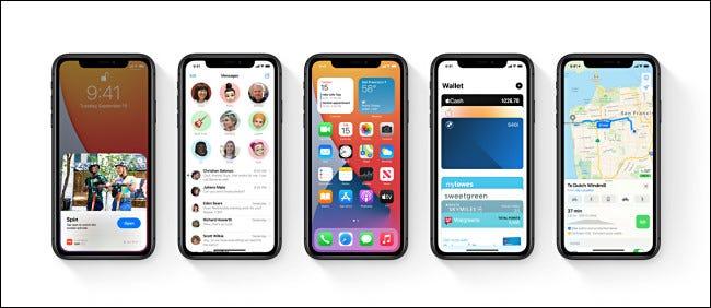 Five Apple iPhones running iOS 14.