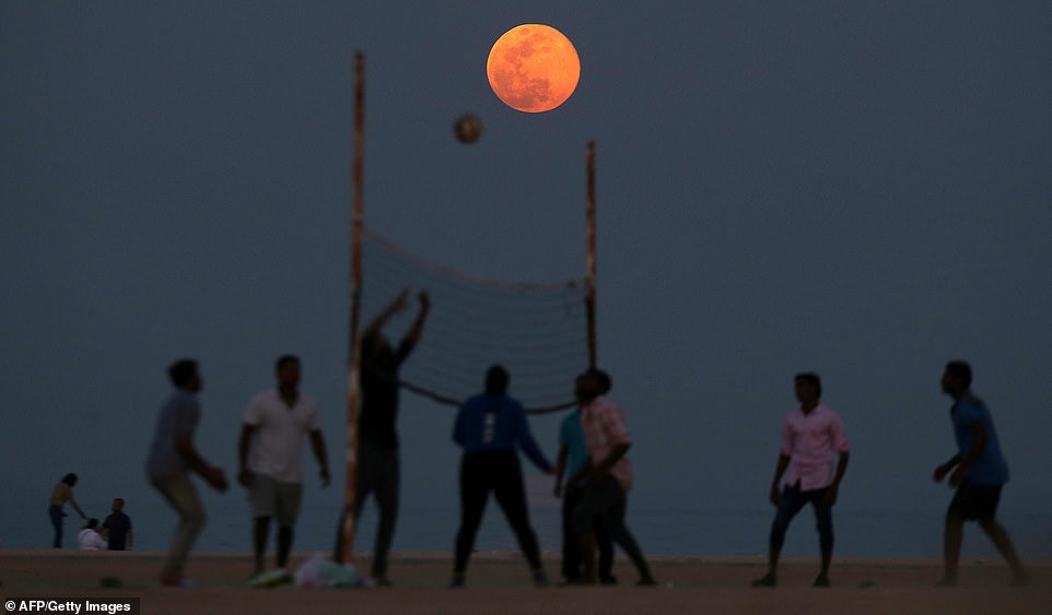 Known as the 'pink supermoon' it be full just before sunset on April 27 as the moon rises in the east and will be visible until it sets in the west the next morning