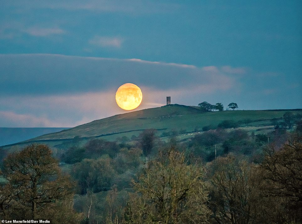 The beautiful pink moon, so named as it was used in the farmers' almanac, is seen by Blacko Tower in Blacko in Lancashire