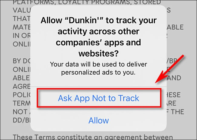 """Tap """"Ask App Not to Track."""""""